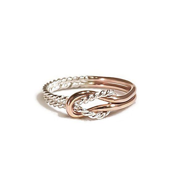 Buckle knot ring, Promise ring, silver and rose gold