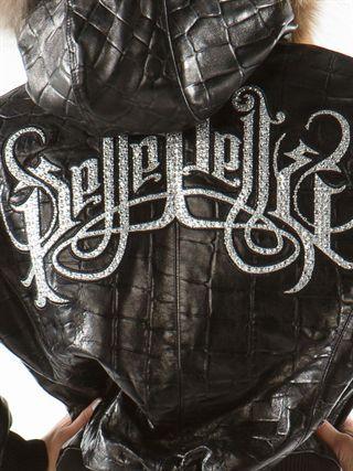 Pelle Pelle Royal Jacket - Black Large Croc w/ Fur hood