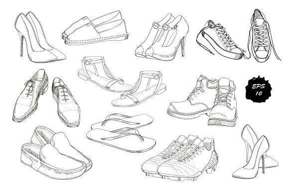 Set of drawing Shoes. Clip-art by ImpressionShop on @creativemarket