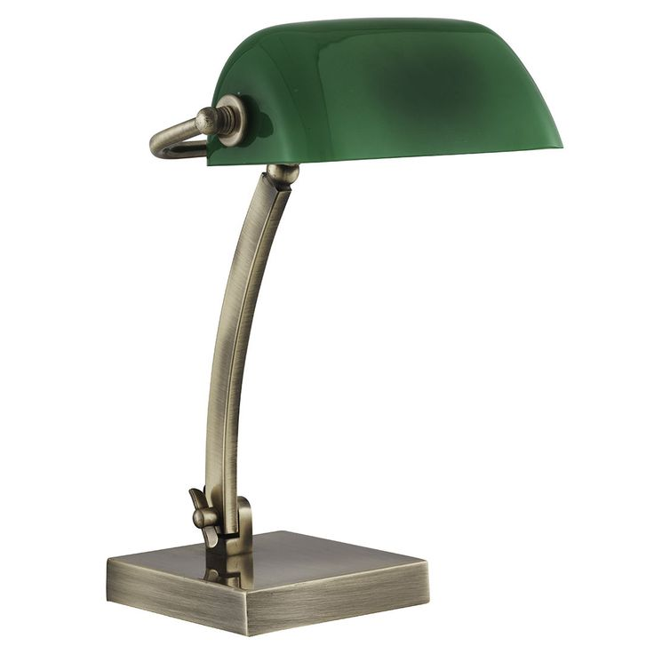 BANKERS SINGLE TABLE LAMP ANTIQUE BRASS GLASS SHADE FINISH