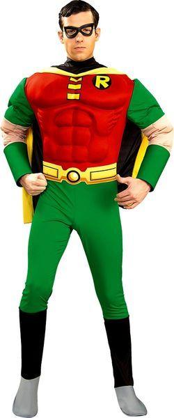 Naamiaisasu; Robin Deluxe  Lisensoitu The Batman Robin Deluxe asu. Muuttaa tavallisen miehen hetkessä Batmanin parhaaksi ystäväksi ja aisapariksi. Lihakset sisältyvät hintaan. #naamiaismaailma