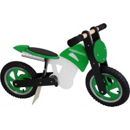 Groen-zwart-witte Kiddimoto crossmotor loopfiets    Steel de show met deze fantastische loopfiets gebaseerd op de offroad crossmotoren.  Met deze loopfiets ontwikkel je razendsnel een goede balans, coördinatie en motoriek waardoor de overstap naar de echte fiets haast vanzelf gaat.  Deze crossmotor is een stoer, orgineel en leerzaam kado waarmee bij ieder kind een lach op het gezicht getoverd wordt.