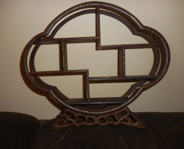 """BEAUTIFUL!Rosewood Vintage """"Shelf"""" or """"Altar"""" Oval Shape, Dark wood, 12-3/4"""" across x 11"""" Tall x 2"""" wide (that is how thick the shelves are) by ZephyrGemsandEtc on Etsy"""