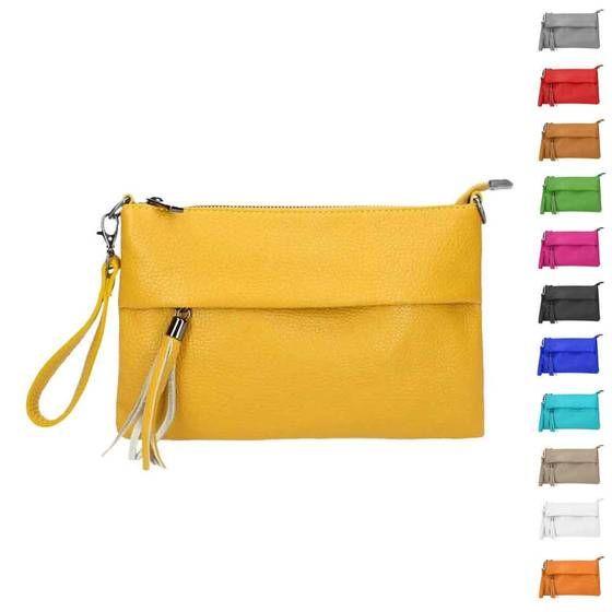 Photo of OBC Made in Italy WOMEN Genuine Leather Clutch BAG Handbag Shoulder Bag Leather Shoulder Bag Fringed Cross-over Wrist Bag