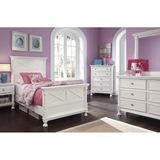 Ashley Kaslyn Queen/Full Panel HBD BDRM Set - The beauty of Vintage Casual design shines with the bright white durable finish along with the stylish X motif and half rounded pilasters adorning the bed and case pieces making the Kaslyn bedroom collection the perfect way to create a cottage getaway within your own home.