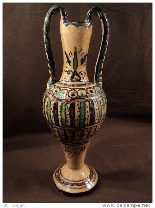 Grand vase fa ence tunisie kharraz nabeul 1920 islamic for Faience tunisie