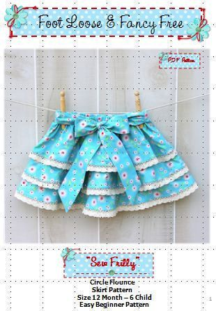 Easter Skirt - SEW FRILLY Skirt Pattern -  New Easy Circle Flounce Design - PDF Sewing Pattern Sizes 12 Months - 6 Child,