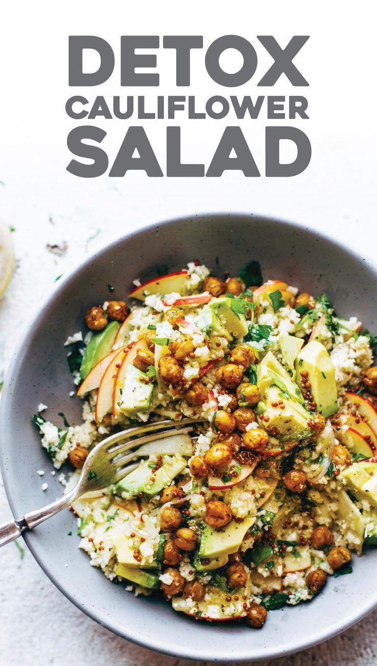 Spring Detox Cauliflower Salad: with *raw* cauli rice, roasted chickpeas, apples, avocado, shallots, herbs, and a two-second sweet mustard dressing. gluten free, vegan, delicious. | pinchofyum.com