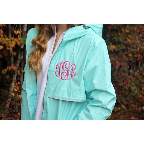 Monogrammed Rain Coat Personalized Rain Jacket Charles River Rain Coat... ($54) ❤ liked on Polyvore featuring outerwear, coats, grey, women's clothing, mac coat, grey coat, waterproof rain jacket, hooded rain coat and monogrammed rain coat