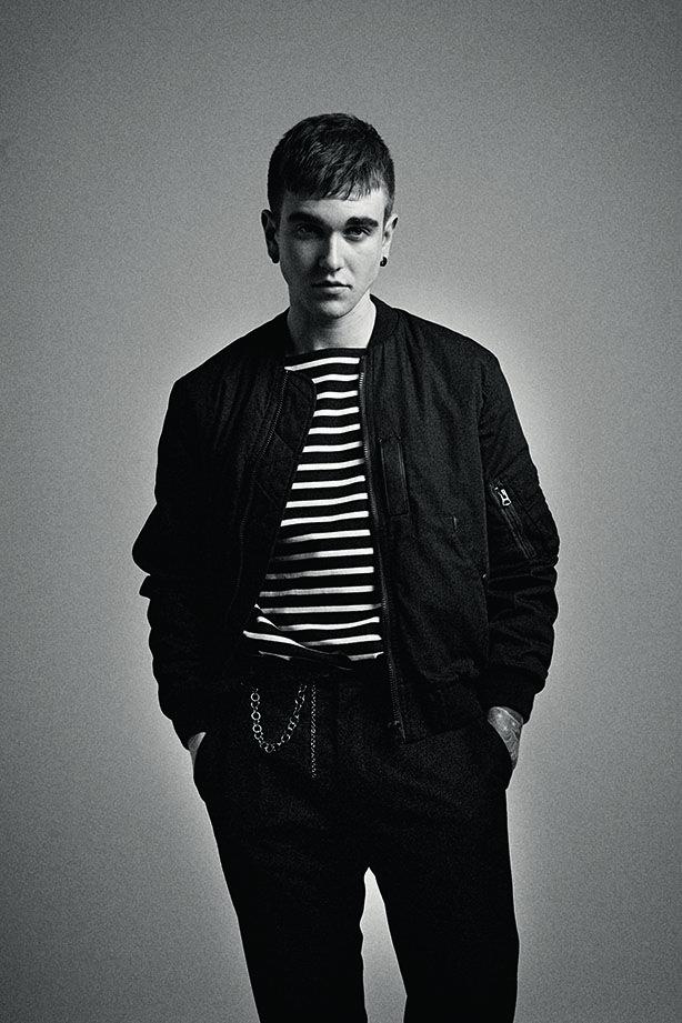 Gabriel-Kane Day-Lewis, Model - Denim Bomber - Cotton 'Marinière' - Burberry Brit - Cotton Trousers - Burberry London - Leather Belt - Nickel Chain - Lanvin