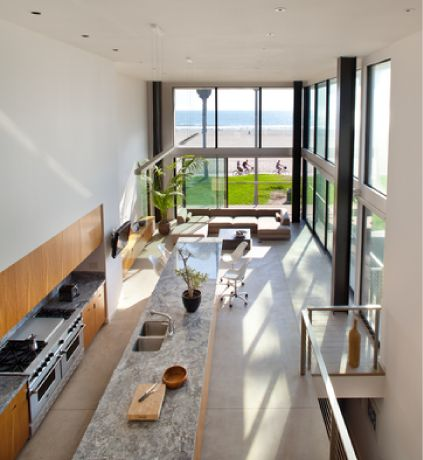 Extra Long Kitchen Island Marble Counter Top Wood Base Concrete Floors Ocean Front Walk Marmol Radziner Venice Ca Pinterest Long Kitchen