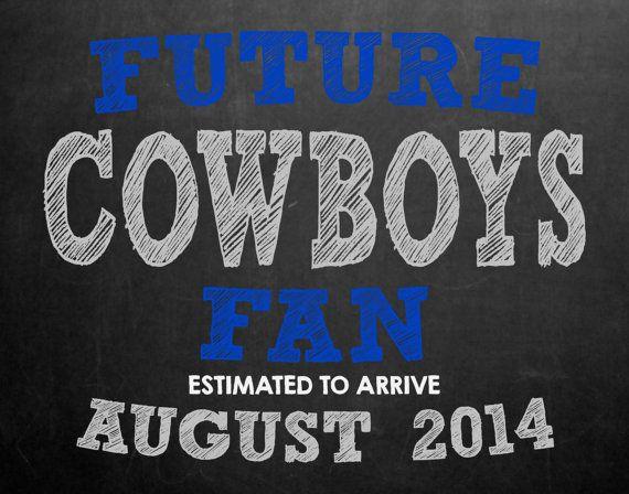 Dallas Cowboys Pregnancy Announcement Chalkboard by MMasonDesigns, $15.00