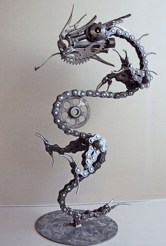 Steampunk chinese lucky , new year, Dragon amazing metal work mixed media assemblage 3d sculpture made from repurposed bicycle parts recycled art
