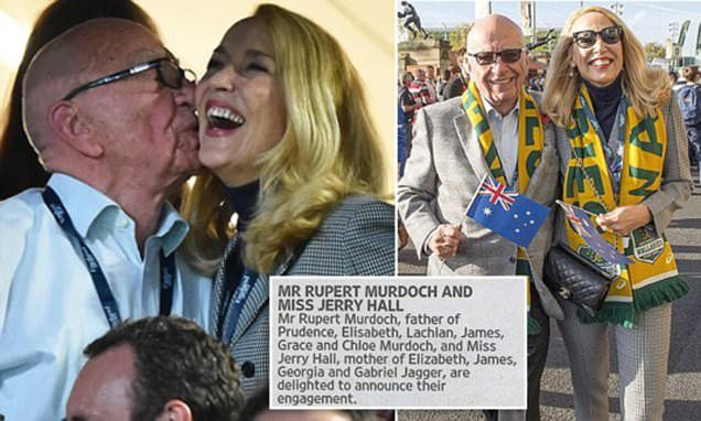 Jerry Hall, 59, and Rupert Murdoch, 84, announce their engagement in The Times after a whirlwind four-month romance (Daily Mail 12 January 2016)