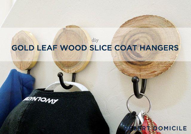 DIY Gold Leaf Wood Slice Coat Hangers