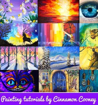 Step-by-step painting tutorials by Cinnamon Cooney // Akrilfestmények lépésről lépésre Cinnamon Cooney festőművésszel // Mindy - craft tutorial collection