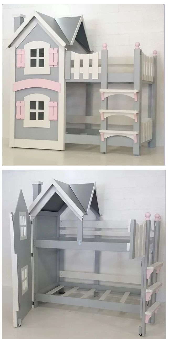 Our Dollhouse Beds are the stuff fairy tales are made of, and would be beautiful additions to any little girls' bedroom. This bed has a pristine finish in your choice of paint colors.  It fits two twin-sized mattresses, or can be configured as a loft bed with a playhouse instead of a bed where the bottom bunk is.