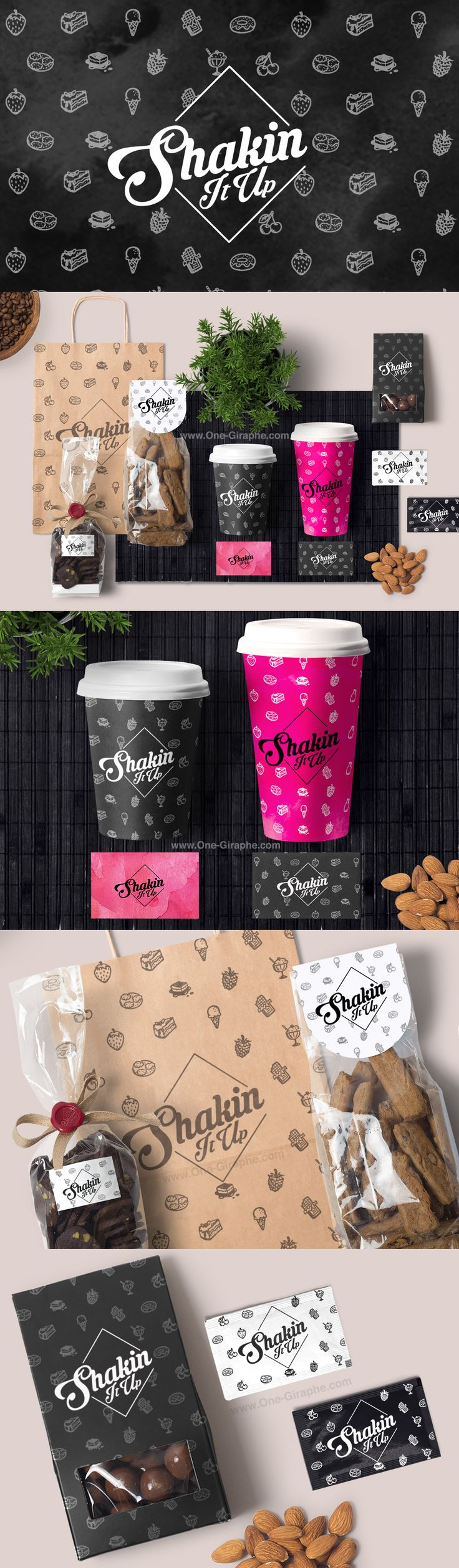 New Brand Identity - Portfolio: http://www.one-giraphe.com/prev.php?c=175  #brandidentity #logo #logodesign #food #watercolor #pattern #coffee #graphic #graphicdesign #bakery #artist #logodesigner #etsy
