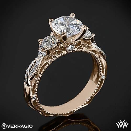 20k Rose Gold Verragio Beaded Twist 3 Stone Engagement Ring