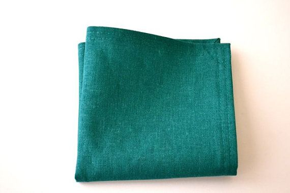 Pocket Square in Teal Linen by AmandaJoHandmade on Etsy