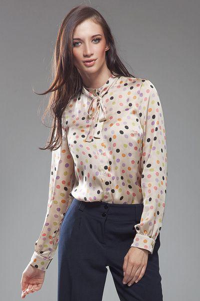 Subtelna+bluzeczka+z+kokardą+-+kropki+w+NIFE+Fashion+na+DaWanda.com