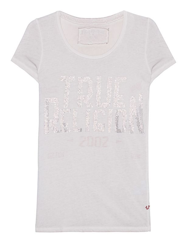 T-Shirt mit Strasssteinen Dieses greigefarbene figurbetont geschnittene Jersey-T-Shirt kommt im Washed-Out Finish mit trendigen Inside-Out-Ziernähten, Rundhalsausschnitt und Label-Schriftzug aus Strasssteinen auf der Front.  Eine cooles Basis für lässige Alltags-Looks!