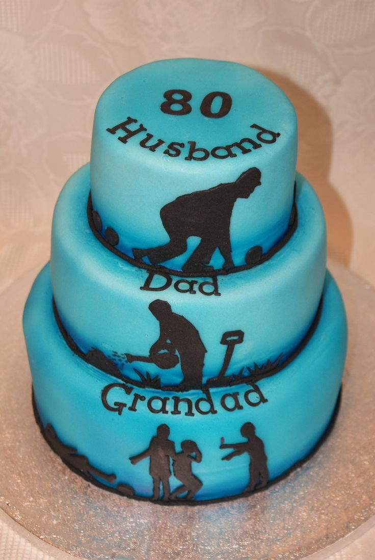 80th Birthday cake.Husband, Dad, Grandad tiered cake with lawn bowls, gardening and football silhouettes