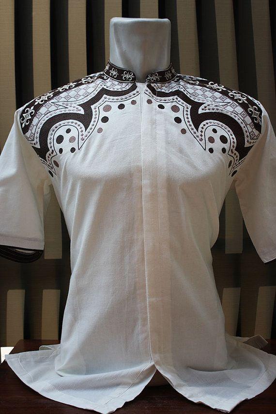 Moroccan Caftan Ivory white cotton Tribal Batik Embroidery Eid tunic Kaftan traditional clothing salwar kameez vintage style - for men