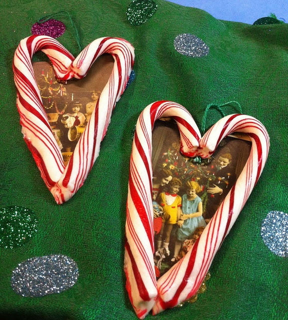 Candy Cane Heart Picture Ornament