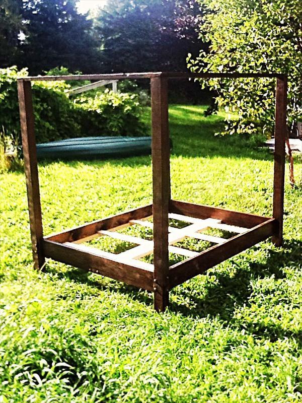 DIY Pallet Canopy Bed Frame   Pallet Furniture DIY