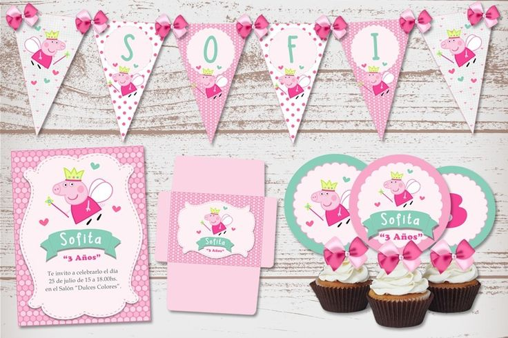 kit imprimible cumpleaños nena peppa pig hada cerdita rosa