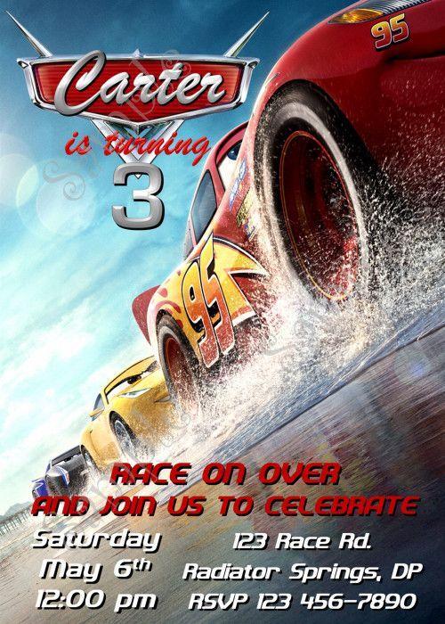 Disney Cars Birthday Party Invitation, Cars Invitation, Cars 3 Birthay
