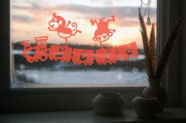 Эта новогодняя вытынанка Обезьяна 2016 украсит ваши окна и принесет в ваш дом уют, и праздничное настроение. Скачать и распечатать шаблон-трафарет вытынанки