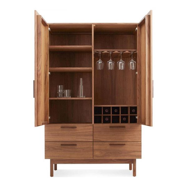 Blu Dot Shale Bar Cabinet ($3,699) ❤ liked on Polyvore featuring home, furniture, storage & shelves, bar cabinets, light brown, bar storage cabinet, liquor storage cabinets, wine storage cabinet, blu dot furniture and storage furniture