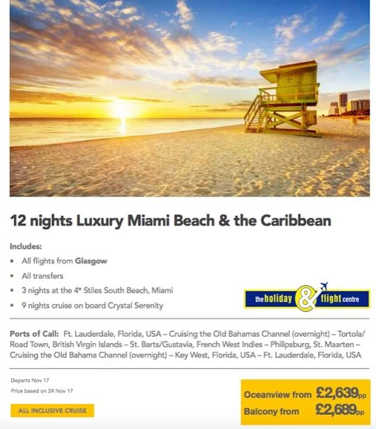 Miami South Beach and the Caribbean Cruise & Stay  From Glasgow  See more cruise offers here....  https://plus.google.com/u/0/b/117155539269047519956/collection/0so0NE