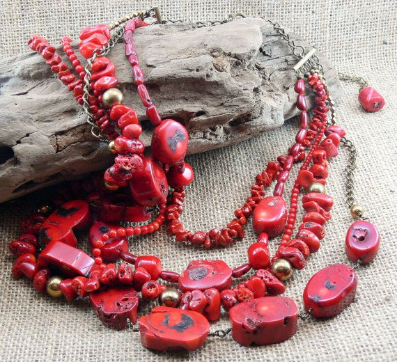 RED Coral Statement Necklace  Earrings  5 by MMDJewellery on Etsy