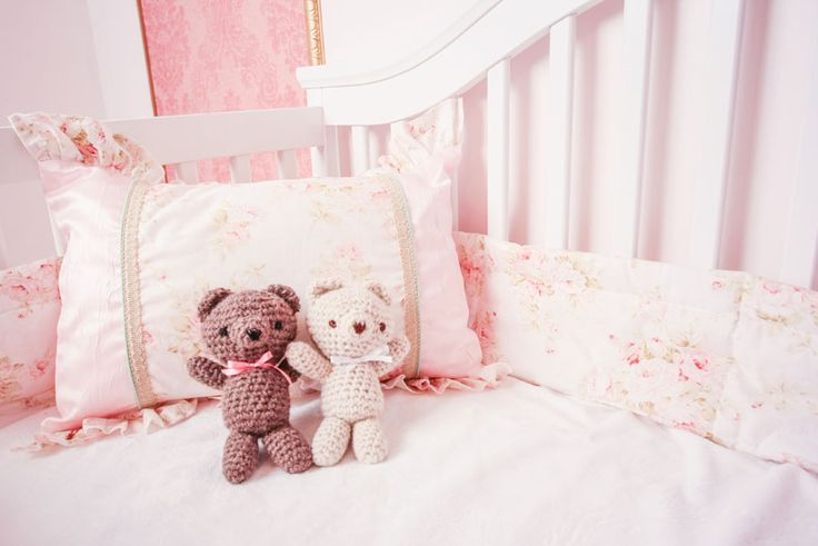 "From our décor ""La Pompadour"": our bedding and knitted teddy bears"