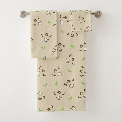 Birds and song Brown Bath Towel Set - kids kid child gift idea diy personalize design