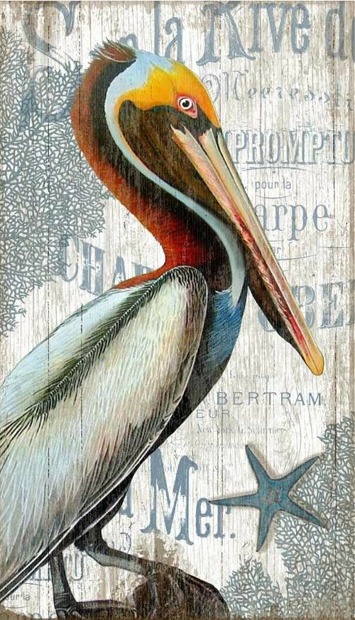 Pelican Painting on Wood from Caron's Beach House.... http://www.completely-coastal.com/2016/10/shorebird-art-blue-herons-sand-pipers.html