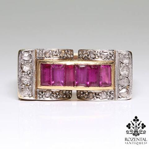 Antique Retro 18K Gold Diamond  & Ruby Ring