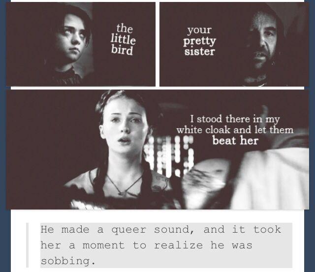 Sandor The Hound and Sansa Stark. Arya Stark