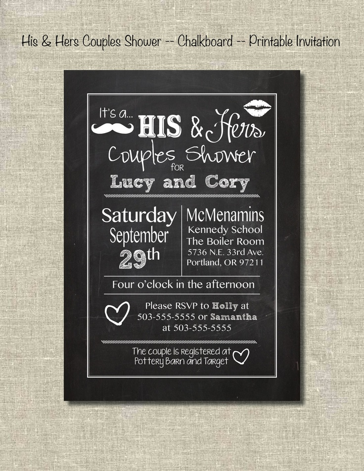 His u0026 Hers Couple ShowerChalkboardPrintable InvitationDigital File