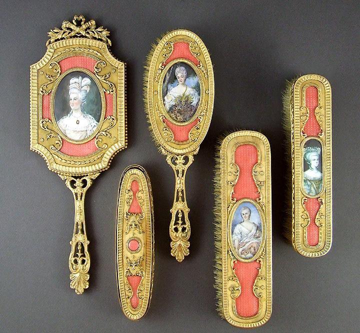 Superb 19c французскую бронзу свинка & Эмаль 5шт туалетный столик с миниатюрными портретами