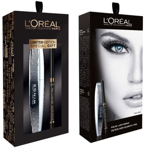L'Oréal Zestaw Maskara False Lash Wings + Eyeliner Gelmatic | MALL.PL