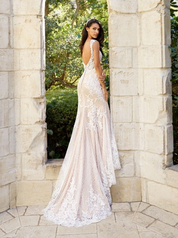 Moonlight Collection J6575 Affordable Wedding Dresses With Low Backs And Beading Lace