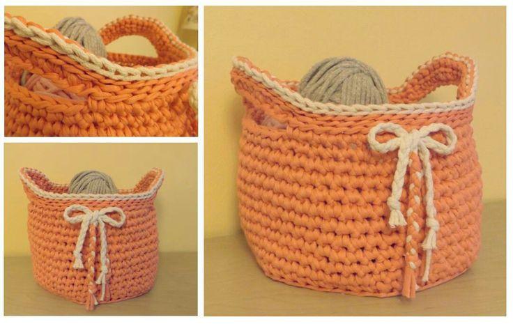 Handmade crochet basket / zpagetti / koszyk z włóczki zpagetti / koszyk szydełkowy