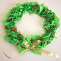 Simple Tissue Paper Christmas Wreath