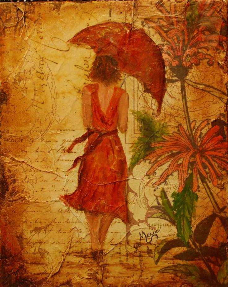 """""""Mona""""  (8 x 10 - oils on canvas/mixed media)"""