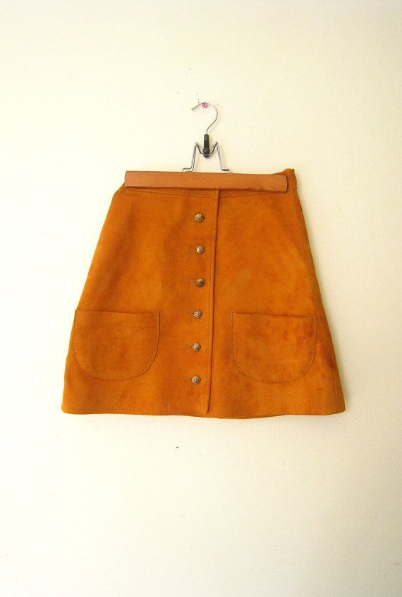suede mini skirt 1960s skirt mustard suede