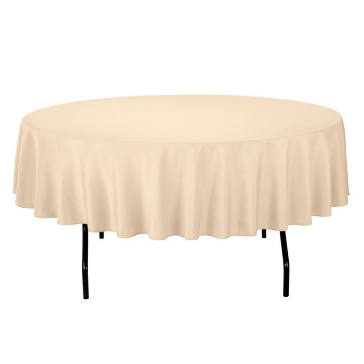 90 in. Round Economy Polyester Tablecloth Beige